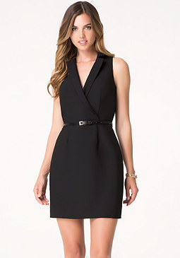 bebe Crepe Collared Dress