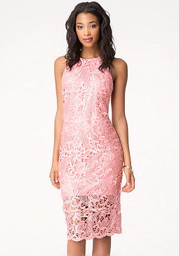 bebe Guipure Lace Midi Dress