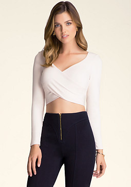 bebe Solid Wrap Crop Top