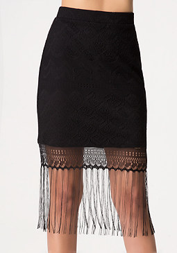 bebe Fringe Midi Skirt