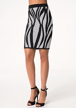 bebe Leaf Jacquard Skirt