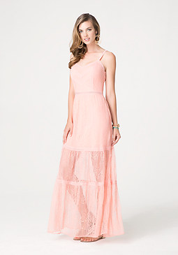 bebe Chantilly Lace Maxi Dress