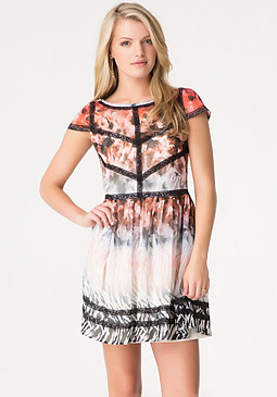 bebe Safari Print Chiffon Dress