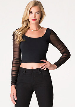 bebe Shirred Sleeve Top