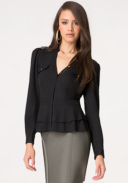 bebe Vegan Leather Trim Blouse