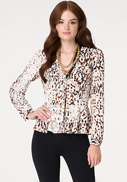 bebe Print Vegan Leather Blouse