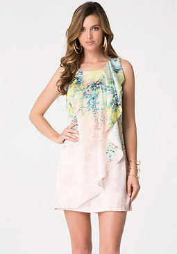 bebe Print Ruffle Shift Dress