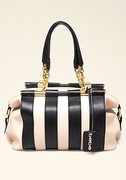 bebe Joleen Striped Satchel