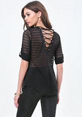 bebe Back Lace Up Button Shirt