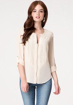 bebe Silk & Geo Lace Shirt