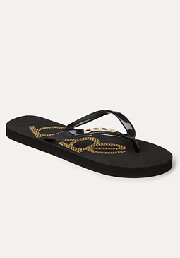 bebe Logo Repeat Low Flip Flops