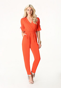 bebe Shirred Sleeve Jumpsuit