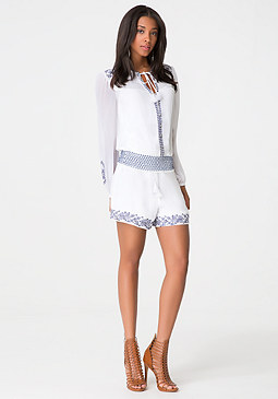 bebe Embroidered Ruffle Shorts