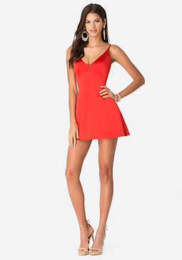 bebe Satin Deep V-Neck Dress