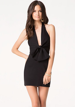 bebe Bow Front Halter Dress