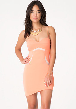 bebe Asymmetric Bodycon Dress