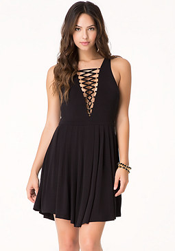 bebe Front Lace Up Dress