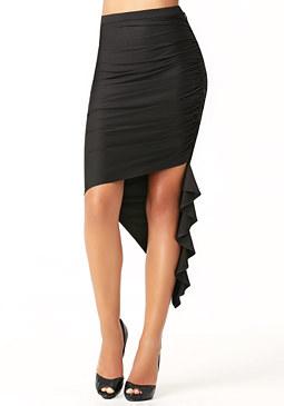 bebe Cascading Asymmetric Skirt