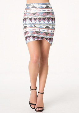 bebe Sequin Tulip Skirt