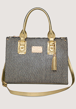 bebe Carrie Contrast Straw Tote