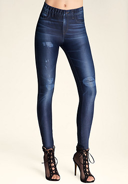 bebe Faux Destroyed Jeggings