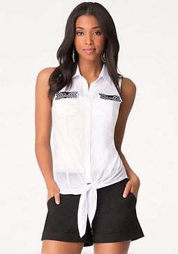 bebe Embellished Pocket Top