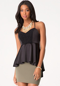 bebe Soutache Peplum Top