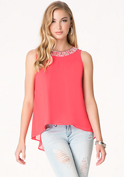 bebe Pleated Open Back Top