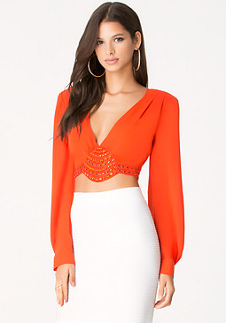 bebe Jewel & Bead Crop Top