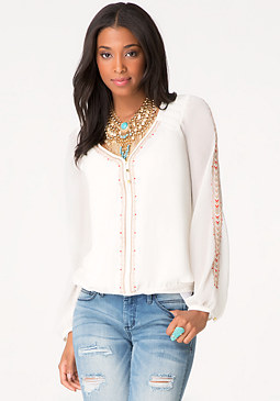 bebe Embroidered Peasant Blouse