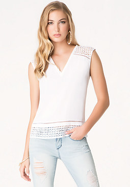 bebe Eyelet Trim V-Neck Top