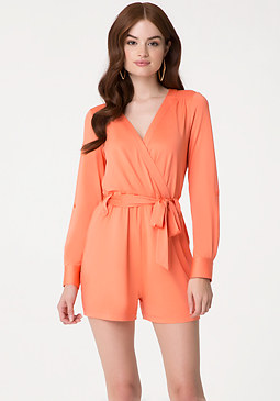 bebe Roll Sleeve Day Romper
