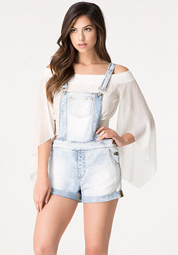 bebe Destroyed Denim Shortalls