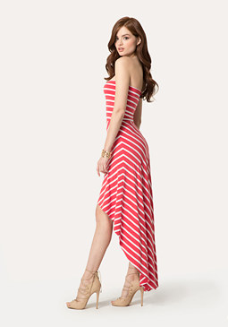 bebe Striped Hi-Lo Dress