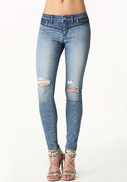 bebe Laser Print Skinny Jeans