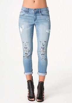 bebe Embellished Boyfriend Jeans
