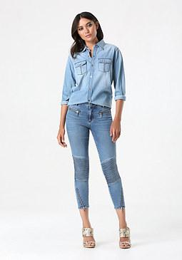 bebe Moto Crop Jeans