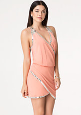 bebe Iridescent Beaded Dress