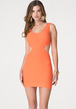bebe Textured Side Cutout Dress