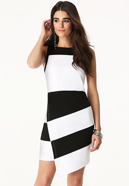bebe Angled Hem Colorblock Dress