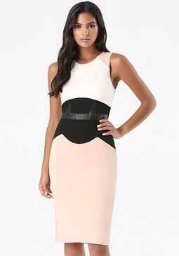 bebe Faux Corset Midi Dress