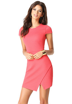 bebe Jacquard Asymmetric Dress