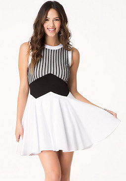 bebe Bonded Mesh Dress