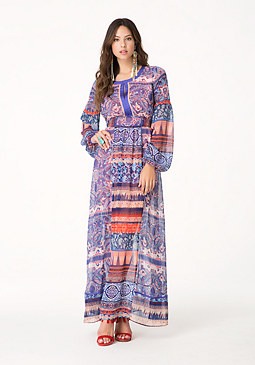 bebe Balloon Sleeve Maxi Dress