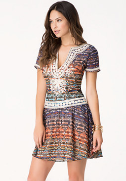 bebe Soutache Drop Waist Dress