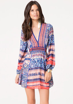 bebe Mix Print Tie Back Dress