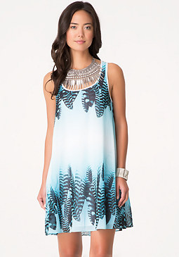 bebe Print Macrame Back Dress