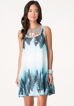 bebe Print Macrame Back Dress