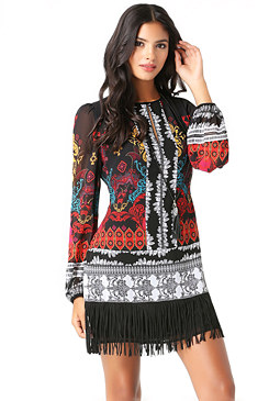 bebe Faux Suede Fringe Dress