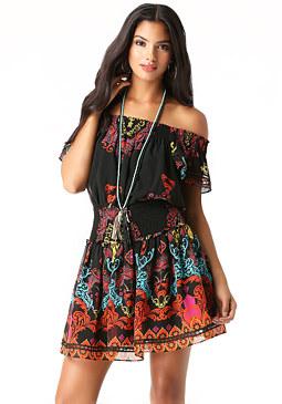bebe Smocked Ruffle Sleeve Dress